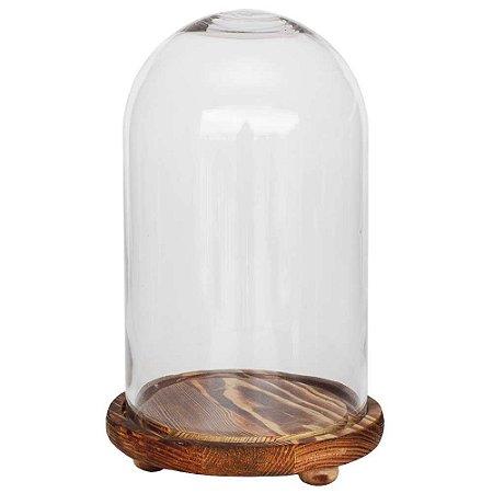 Redoma de vidro lisa com base de madeira