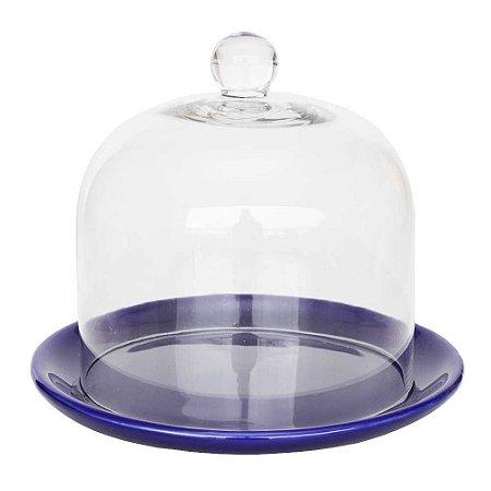 Redoma de vidro com base de louça - azul marinho