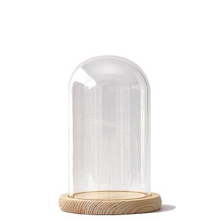 Redoma de vidro com base de madeira 10X18cm