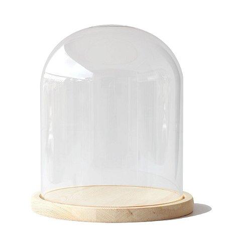 Redoma de vidro com base de madeira 18X22cm