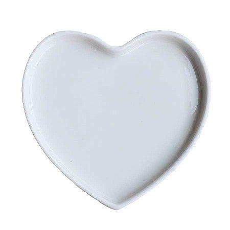 Prato coração de porcelana Branca (13x12,5cm)