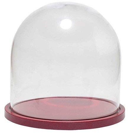 Redoma de vidro lisa com base de MDF cereja metálica - pequena