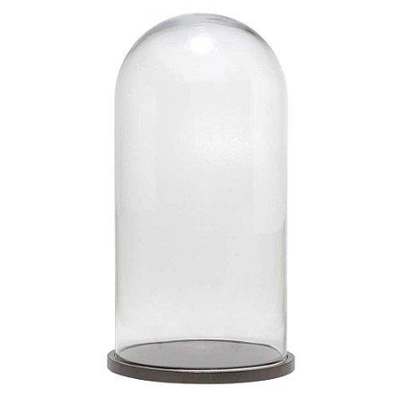 Redoma de vidro lisa com base de MDF bronze metálica - grande