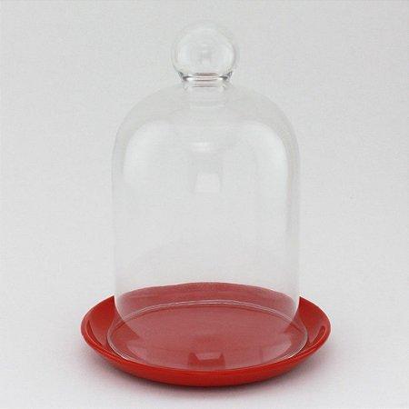 Redoma com base de louça - vermelha