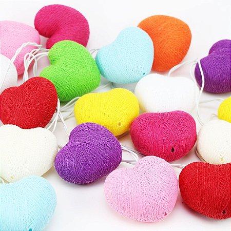 Cordão de Luz Cotton Coração Colorido