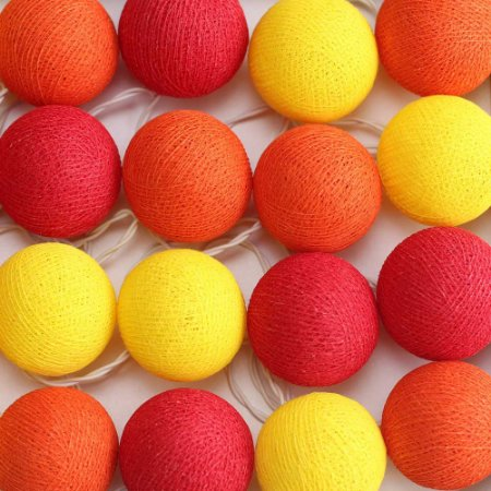 Cordão de Luz Cotton Amarelo, Laranja e Vermelho