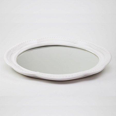 Bandeja de louça com espelho branca