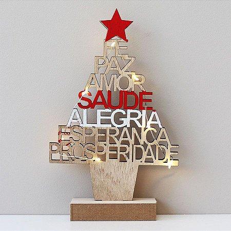 Árvore de Natal de madeira com mensagens