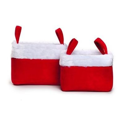 Jogo de cestos de Natal com pelúcia branca