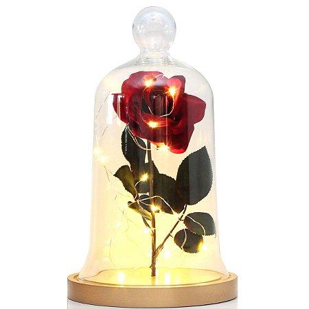 Redoma de vidro a Bela e a Fera com base de MDF dourada