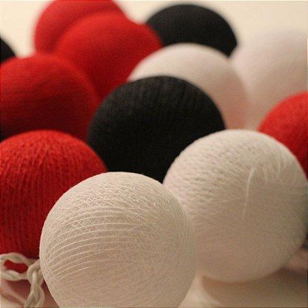 Cordão de Luz Cotton Preto, Vermelho e Branco