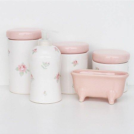 Kit Higiene de louça - Rosas com saboneteira