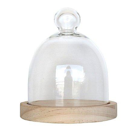 Mini Redoma de vidro com base de pinus