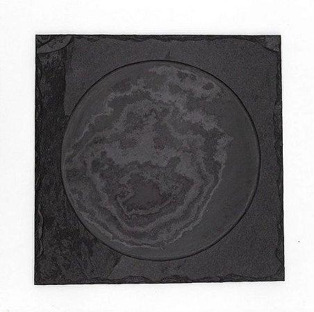 Prato Quadrado em Ardósia com borda - Acabamento Rústico (30x30cm)