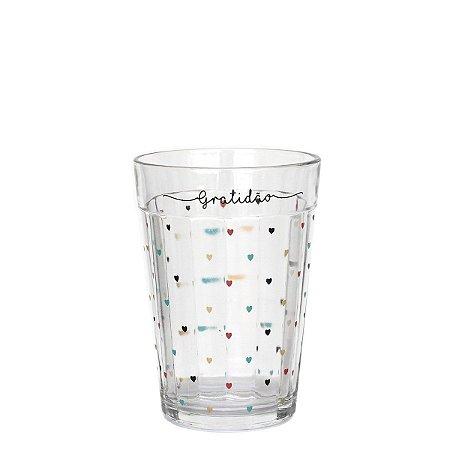 Copo de vidro com corações - Gratidão - tamanho M
