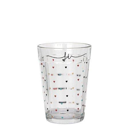 Copo de vidro com corações - Fé - tamanho M