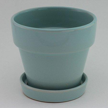 Vaso liso com prato Azul