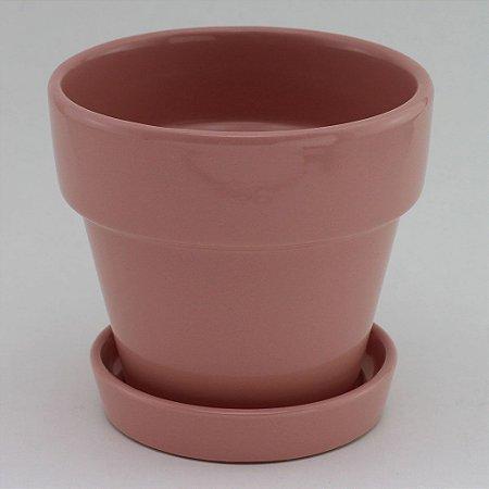Vaso liso com prato Rosa