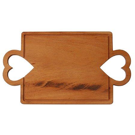Tábua de madeira retangular com alças de coração larga
