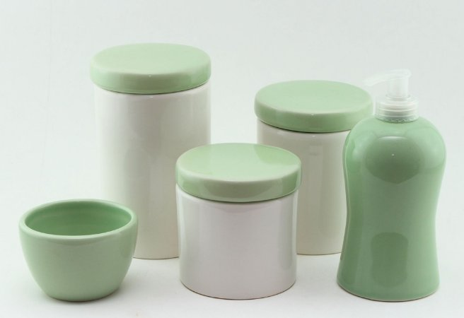 Kit Higiene Verde e Branco - 5 peças