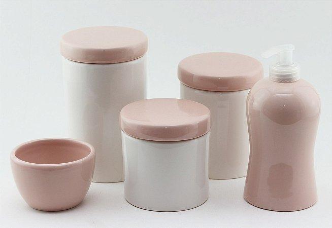 Kit Higiene Rosa e Branco - 5 peças