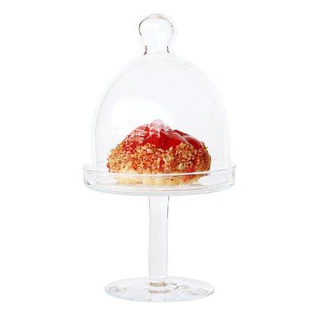Mini Boleira de Vidro com Redoma - 22 cm (Altura)