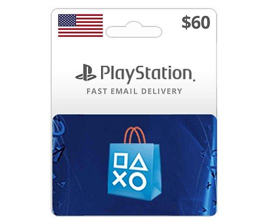Cartão PSN $60 Dólares PSN Americana