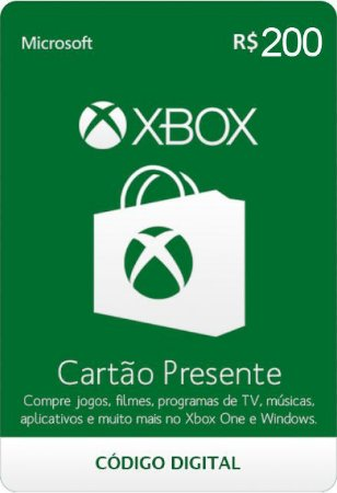 Cartão Xbox R$ 200 Reais Xbox Live Brasil