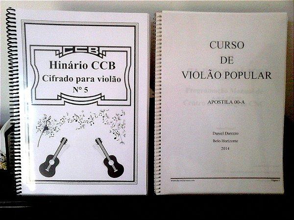 Kit Hinário cifrado CCB 5 + curso de violão popular *encadernado*