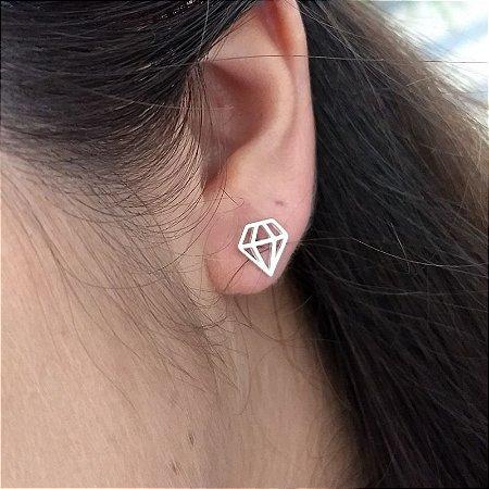 Brinco prata 925 diamante