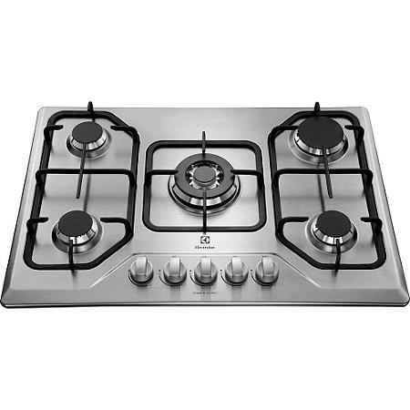 Cooktop À Gás Electrolux 5Q Tripla-Chama Inox e Gusa em Ferro Fundido