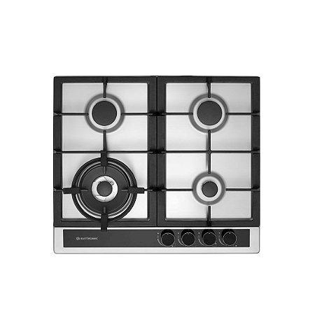 Cooktop Em Inox Elettromec Sole 4 Bocas 60cm Bivolt à Gás