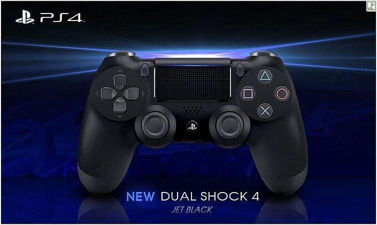 CONTROLE DUALSHOCK 4 NOVO MODELO JET BLACK  PS4