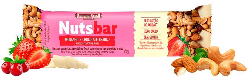 Nuts Bar Morango e Chocolate Branco | Zero Açúcar (25g)