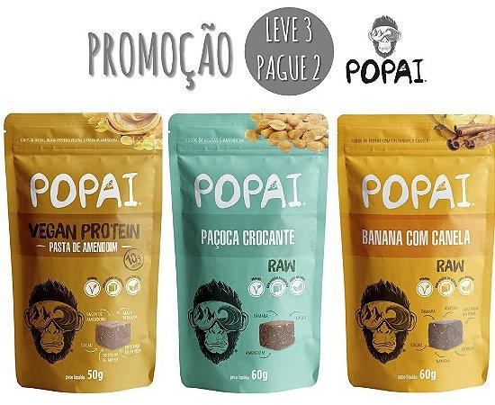 Snacks Popai - Promoção L3P2 - Pasta de Amendoim, Paçoca Crocante e Banana com Canela