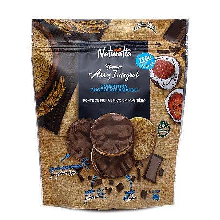 Biscoito de Arroz com Chocolate Amargo | Zero açúcar e Vegano (60g)