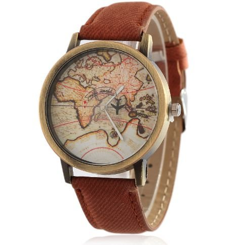 Relógio mapa mundi - marrom