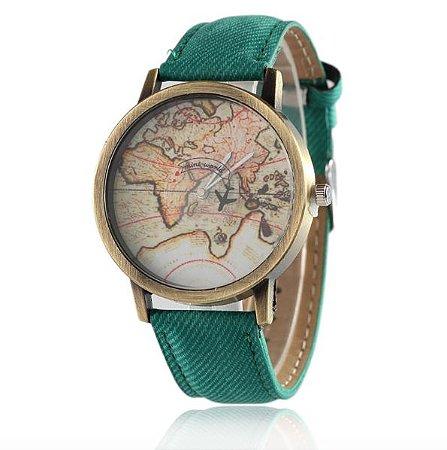 Relógio mapa mundi - verde