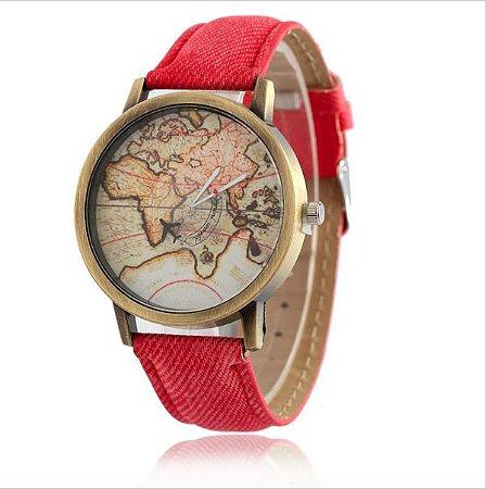 Relógio mapa mundi - vermelho