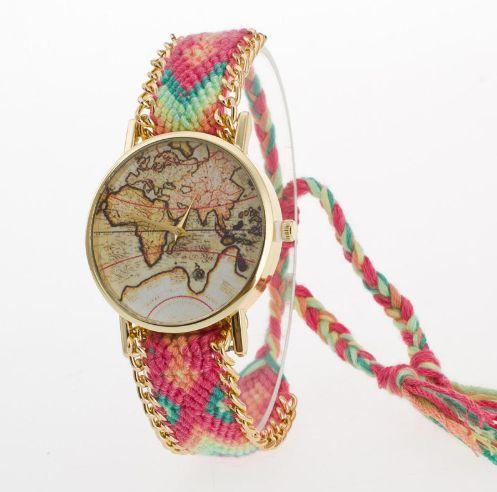 Relógio mapa mundi pulseira de linha