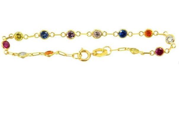 Pulseira Banhada a Ouro 18k Zircônias Coloridas