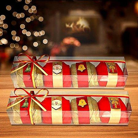 Caixa com 4 bem-casados decorados com botões natalinos
