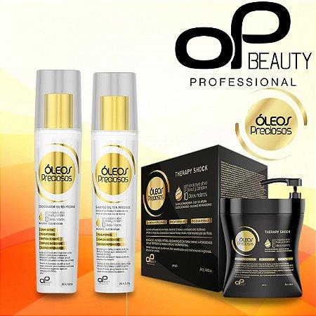 KIT HIDRATAÇÃO INTENSIVA ÓLEOS PRECIOSOS (01 shampoo+01 condicionador 250ml +01 Therapy Shock 450ml)