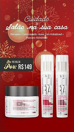 kit 1 - Cuidado de salão na sua casa com Shampoo + Condicionador Hydrablond 250ml + Máscara Restauradora Blond