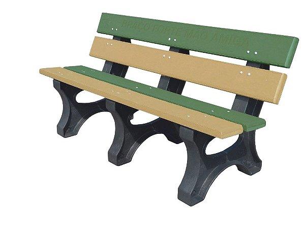 Banco Angra personalizado madeira plástica 1,50m verde e bege - Policog