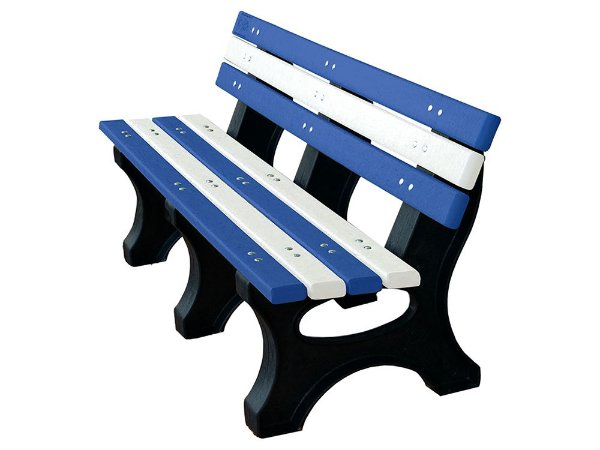 Banco Búzios personalizado madeira plástica 1,50m azul e branco - Policog