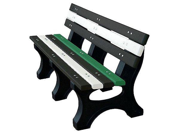 Banco Búzios personalizado madeira plástica 1,50m preto, branco e verde - Policog