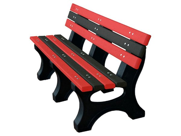 Banco Búzios personalizado madeira plástica 1,50m vermelho e preto - Policog