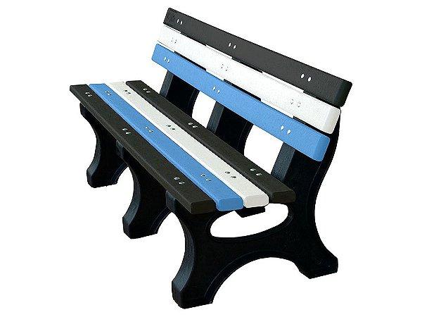 Banco Búzios personalizado madeira plástica 1,50m preto, branco e azul- Policog