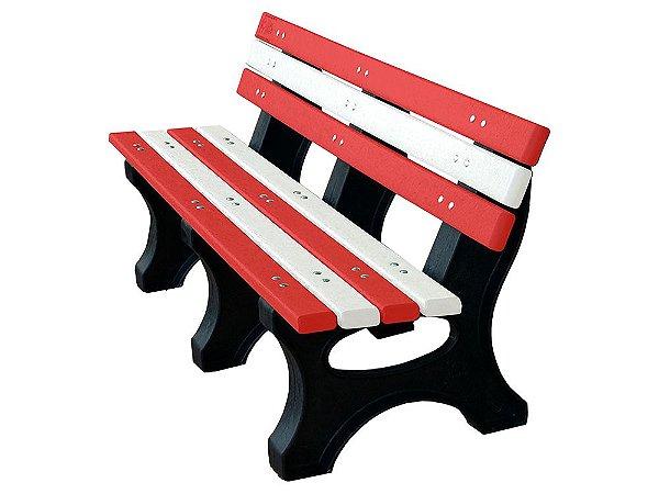 Banco Búzios personalizado madeira plástica 1,50m vermelho e branco - Policog